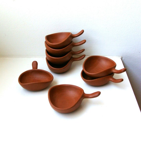 Mid Century Modern Dipping Sauce Bowls Set of 8 Tab Handles Terracotta
