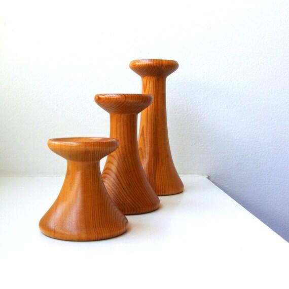 SALE Danish Modern Wood Candle Holders Trio Hand Turned