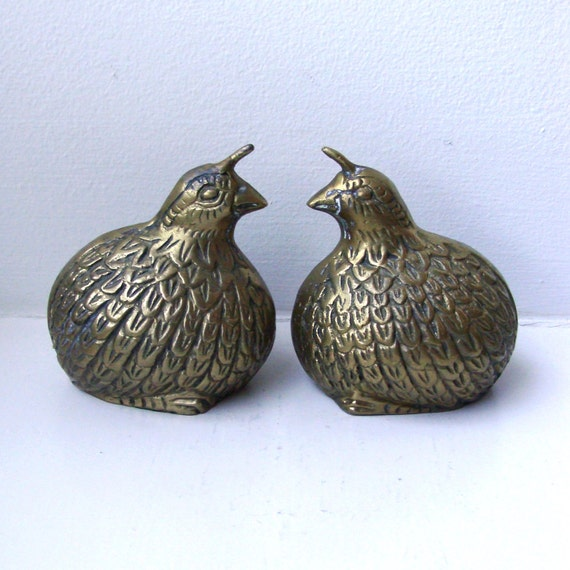 RESERVED Brass Quails/Blue Swedish Candleholder/Brass Duck/Solid Glass Candle/Colorful Salad Servers
