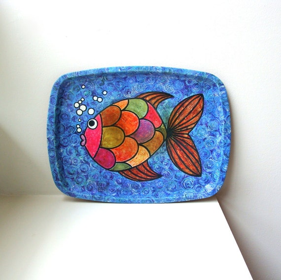 Mod Fish Tray 60's Graphics Worcester Ware Mid Century Danish Modern