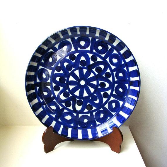 Mid Century Deep Round Blue Platter Dansk Arabesque Danish Modern Niels Refsgaard