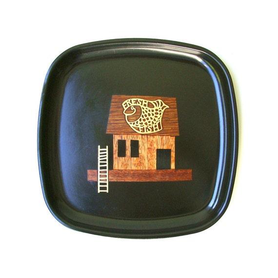 Vintage Black Platter Fish House Inlaid Brass Wood Couroc 60's