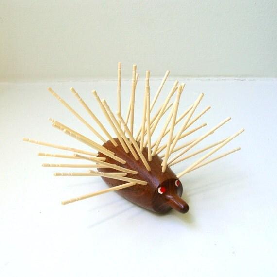SALE Danish Modern Teak Hedgehog Porcupine Toothpick Holder