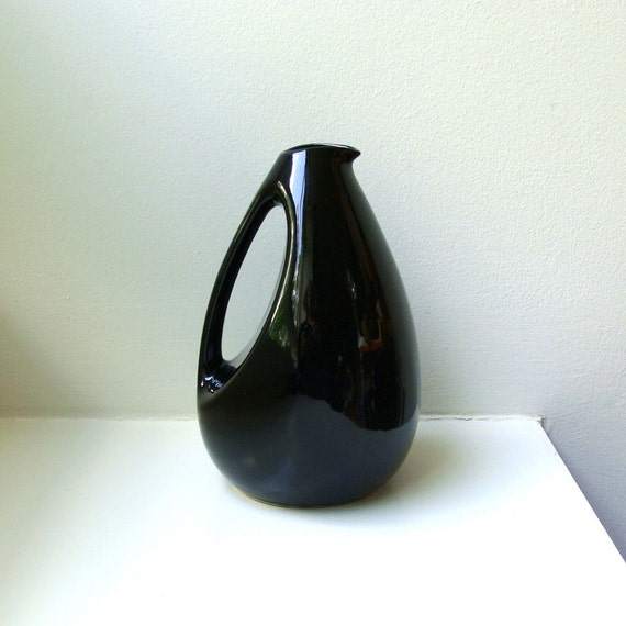 RESERVED Mid Century Modern Black Pitcher Kenwood 945 Shawnee Pottery Moderne Art Deco 1950's