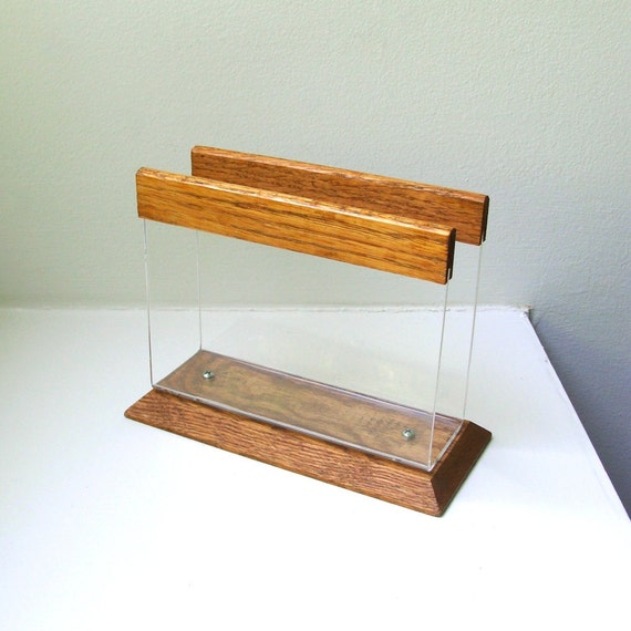 Mod Lucite Wood Napkin / Letter Holder