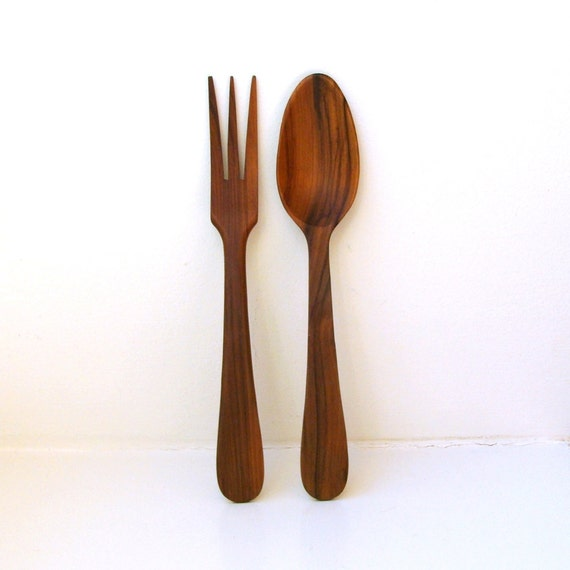 RESERVED Vintage Teak Salad Servers Danish Modern Utensils 1960's