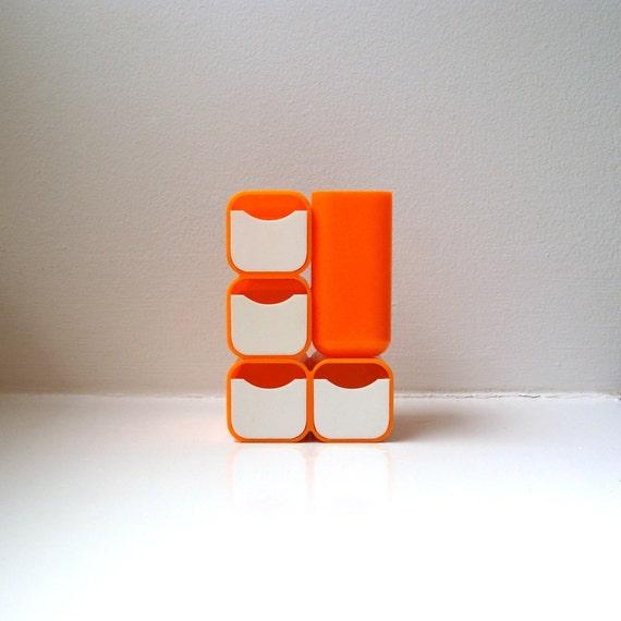 Mod Orange Desk Organizer Caddy 70's Mid Century Modern