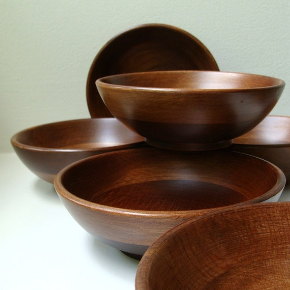 Mid Century Teak Salad Bowls Set 60's Danish Modern