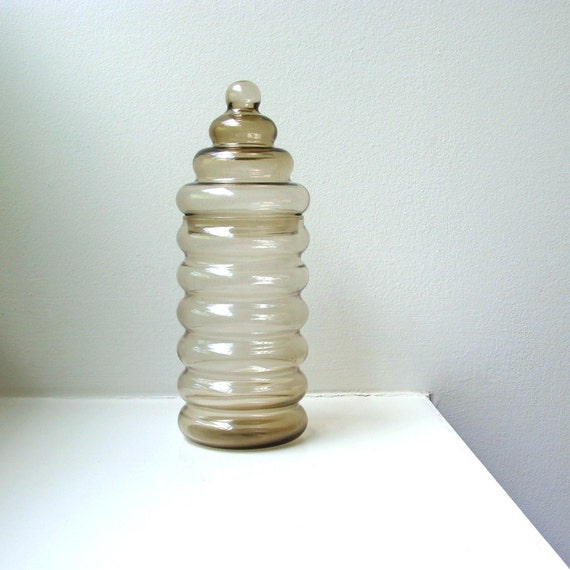 Vintage Modern Holmegaard Primula Glass Apothecary Jar Container Denmark