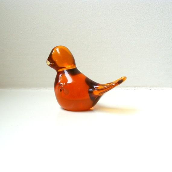 Scandinavian Modern Amber Art Glass Bird Sculpture Figurine