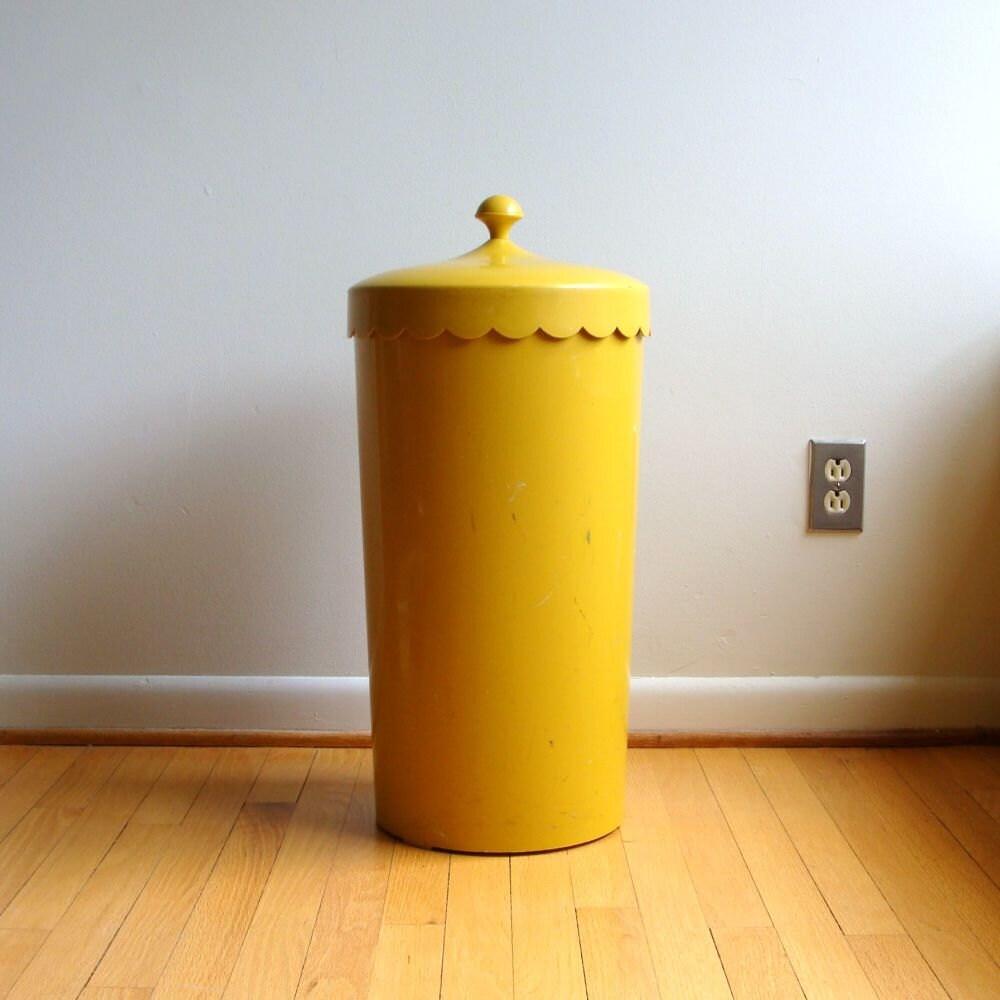 Mod Mustard Yellow Laundry Hamper Melamine 1960 S