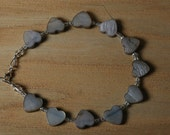Shimmery Gray Mother of Pearl Hearts Bracelet