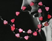 Love is in the Air Mother of Pearl and Hematite Hearts Necklace