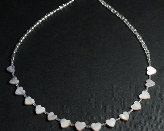 I Heart Hearts Shimmery Gray Mother of Pearl Hearts Necklace