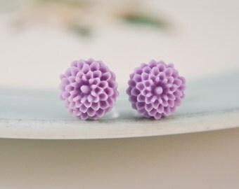 Petite Mum Earrings- Lavender