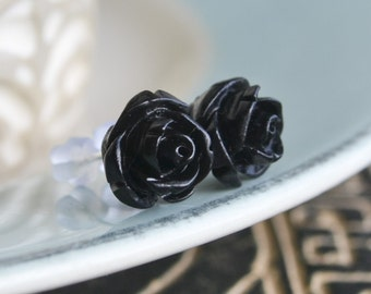 Petite Rose Earrings- Black