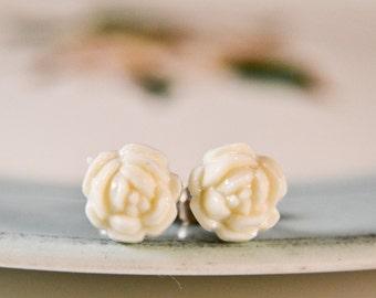 Vintage White Rose Cabochon Earrings
