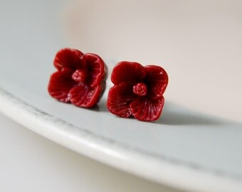 Tiny Flower Post Earrings- Deep Red