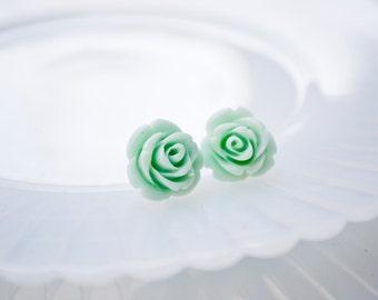 Rose Earrings- Mint