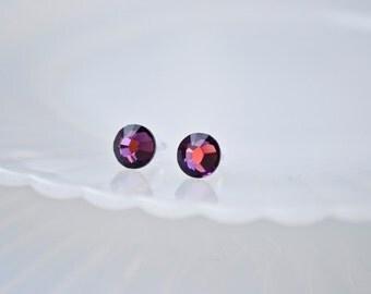 Swarovski crystal earrings -Amethyst