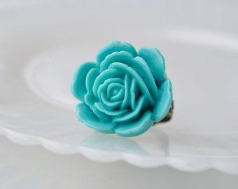 Majestic Rose Ring- Teal