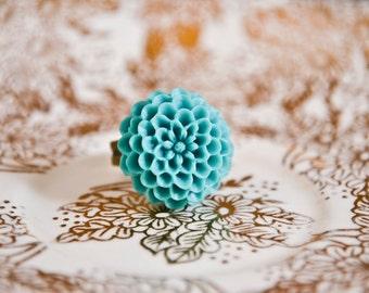 Mum flower Ring- Teal