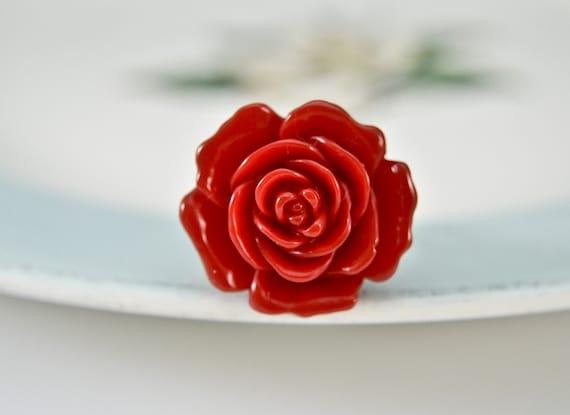 Blooming Rose Ring -Red