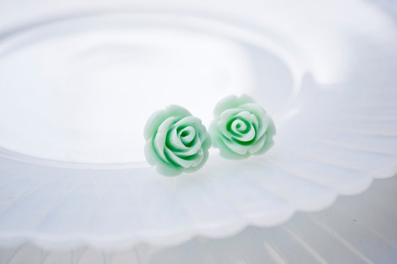 Rose Earrings- Mint