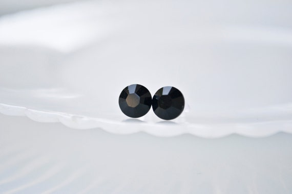 Shop Closing-Swarovski crystal earrings -Jet Black