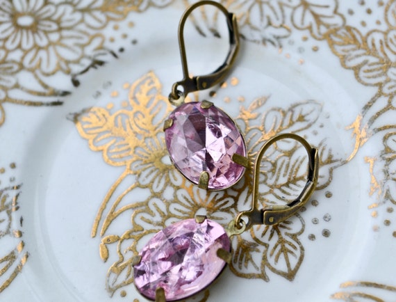 Shop Closing- Pink Sparkle Droplet Earrings - last pair
