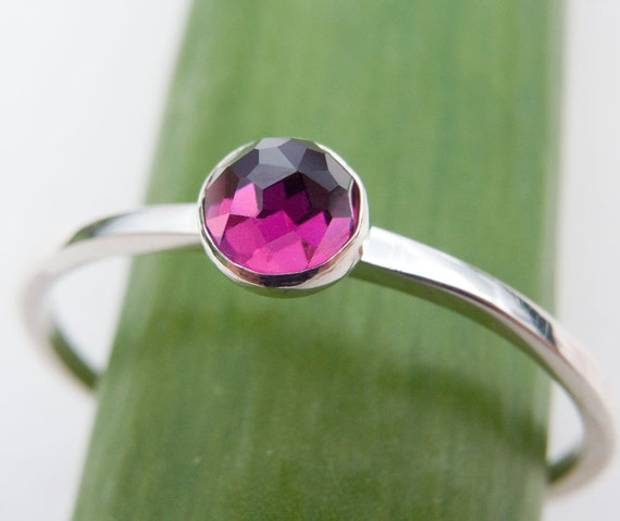 Rhodolite Garnet Stacking Ring - Rose Cut