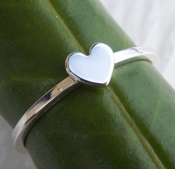 Heart Ring, Tiny Heart Ring, Silver Heart Ring, Heart Stacking Ring