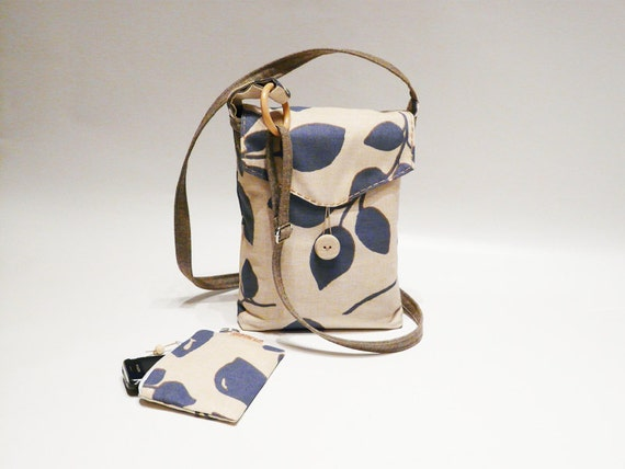 Cross Body Bag and Purse Beige  Blue Cluth Pouch Shoulderbag Small body bag