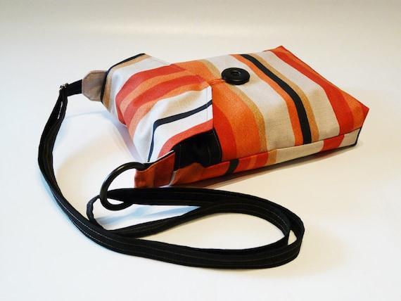 Cross Body bag Red Black Beige Orange striped Shoulderbag purse cluth pouch