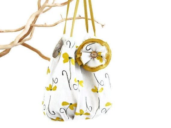 Bohemian shoulderbag Retro Hobo Beige yellow floral bag