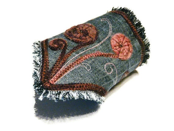 Bohemian bracelet jeans cuff denim boho chic textile cuff upcycled bracelet