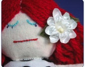 Reserved for KarenMakesStuff - Miniature Ragdoll with White Flower