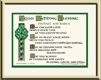 Personalized   Irish Wedding Blessing Gift with Celtic Lettering and Cross by artist/calligrapher Jacqueline Shuler