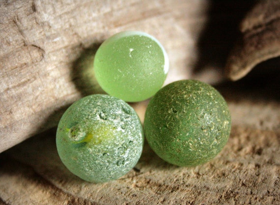 Sea/Beach Glass Marbles Greens 3pcs FREE SHIPPING