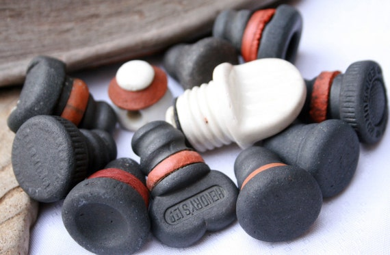 Vintage Screw and Washer Stoppers, Black, White Ceramic, Aerated Water Bottle Stops, Milk Bottle Stopper, Craft Supplies by SarahSeaGlass