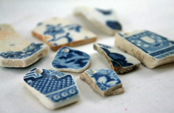 Beach Pottery, Blue and White, Vintage, Ceramic, Sea Pottery, Hand Drilled, Pendant, Focal Bead, Jewelry Supplies