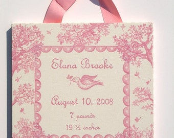 Hand painted toile birth announcement canvas wall art
