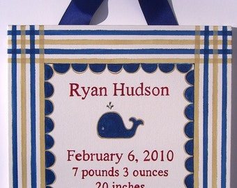 Hand painted preppy whale birth announcement canvas wall art