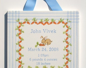Hand painted bunny and carrots birth announcement canvas wall art- blue