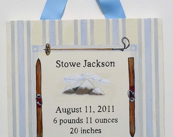 Hand painted vintage ski birth announcement canvas wall art