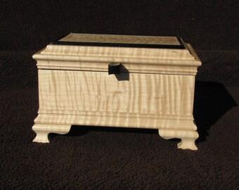 Wooden jewelry Keepsake Box Tiger Maple and Ebony ready to ship