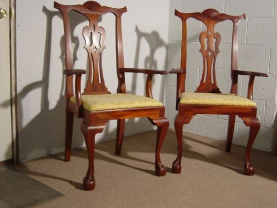 Chippendale arm chairs heirloom quality wood furniture