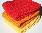 Three Cotton Washcloths, Orange, Yellow, Red Washcloths, Crochet Washcloths, Crocheted Washcloths, Wash Cloths - Sunset Washcloths