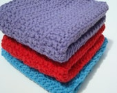 Three Cotton Washcloths - Purple, Red, Blue Washcloths, Wash Cloths - Crochet, Crocheted Washcloths, Wash Cloths in Fun Colors