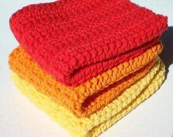 Three Cotton Washcloths, Orange, Yellow, Red Washcloths, Crochet Washcloths, Crocheted Washcloths, Wash Cloths - Sunset Washcloths